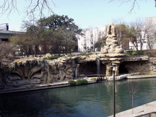 View of the grotto from the shaded bench.